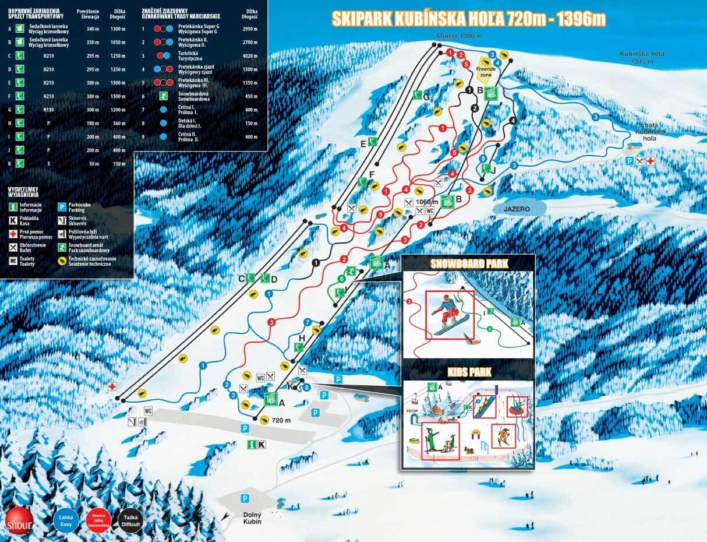 Kubińska Hola - mapa tras narciarskich i snowboardowych.